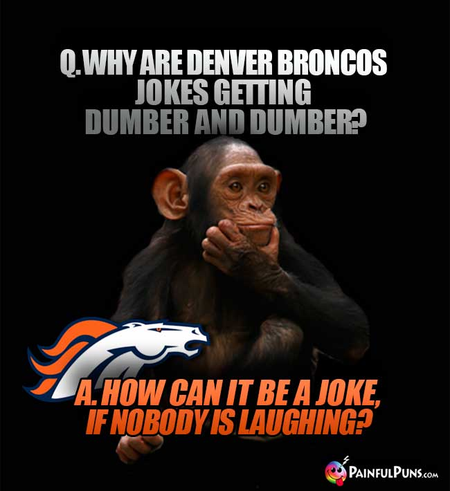 Chimp asks: Why are Denver Broncos jokes getting dumber and dumber? A. How can it be a joke, if nobody is laughing?