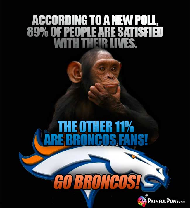 Chimp says: Accordin to a new poll, 89% of people are satisfied with their lives. The other 11% are Broncos fans! Go Broncos!