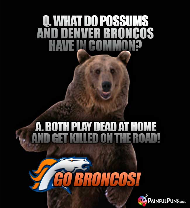 Q. What do possums and Denver Broncos have in common? A. Both play dead at home and get killed on the road! Go Broncos!