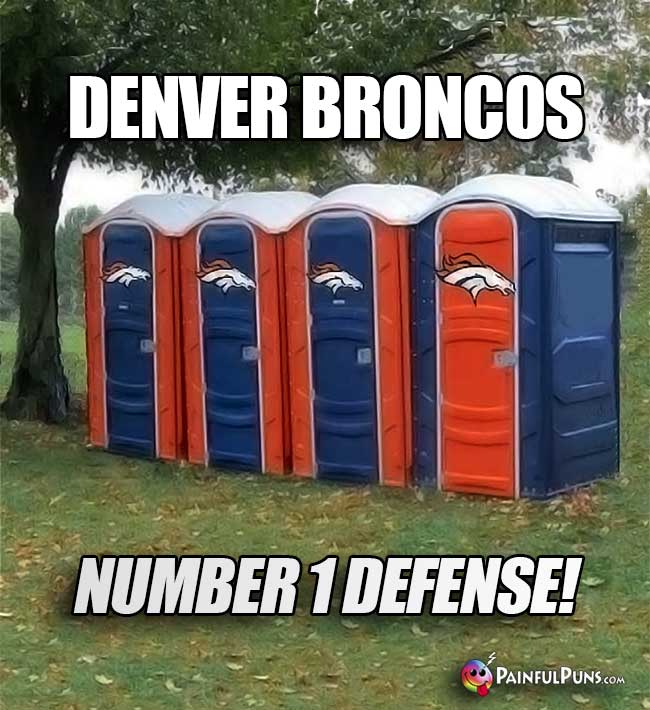 Port-o-potties say: Denver Broncos, Number 1 Defense!