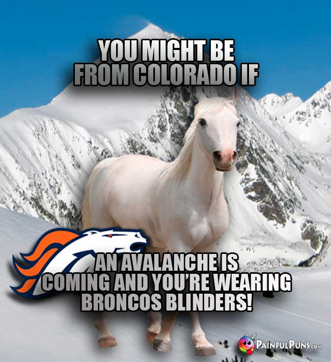 You might be from Colorado if an avalancheis coming and you're wearing Broncos blinders!