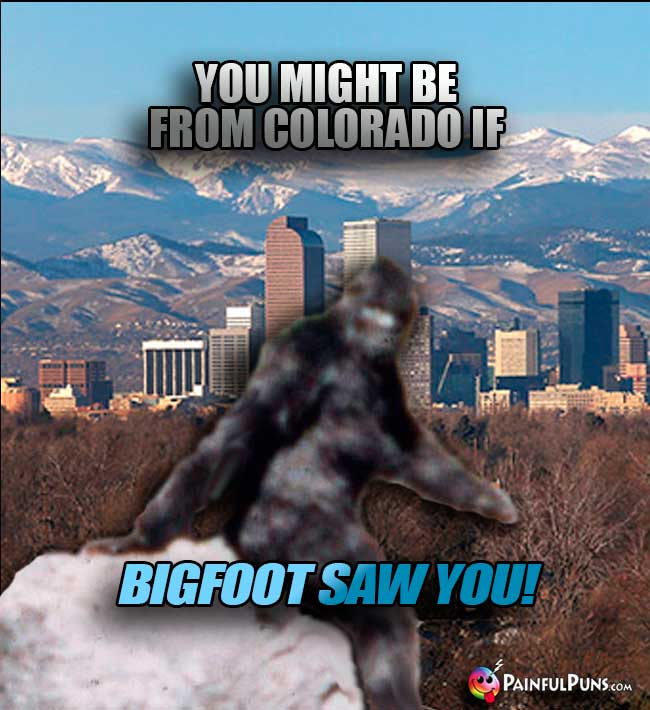 You might be from Colorado if Bigfoot Saw YOU!
