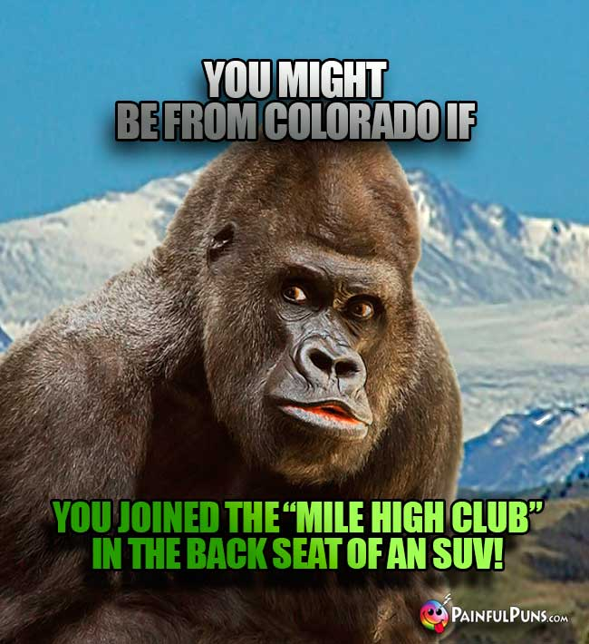 "You might be from Colorado if you joined the ""Mile High Club: in the back seat of an SUV!"