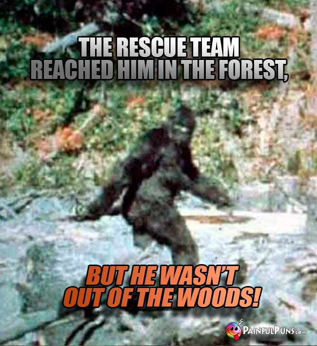 The rescue team reached him in the forest, but he wasn't outn of the woods!