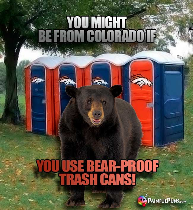 You might be from Colorado if you use bear-proof trash cans!