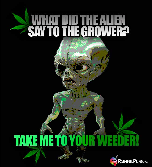 What did the alien say to the grower? Take me to your weeder!