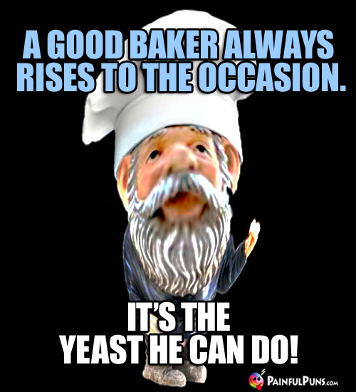 A good baker always rises to the occasion. It's the yeast he can do!
