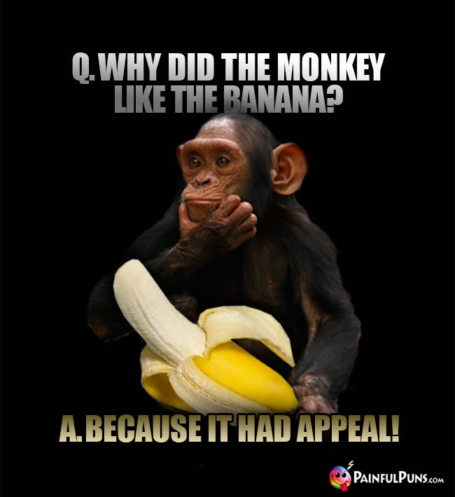 Q. Why did the monkey like the banana? A. Because it had appeal!