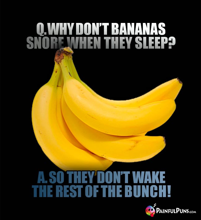 Banana Riddle: Q. Why don't bananas snore when they sleep? A. So they don't wake the rest of the bunch!