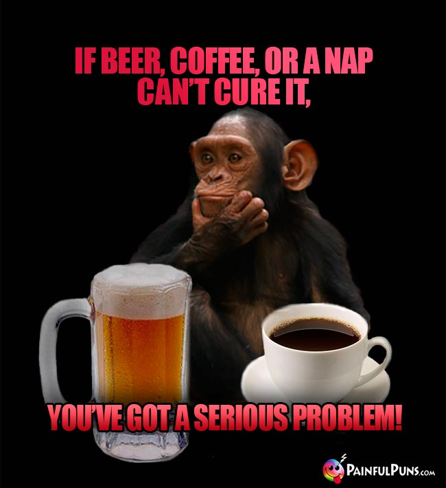 Chimp remarks: If beer, coffee, or a nap can't cure it, you've got a serious problem!