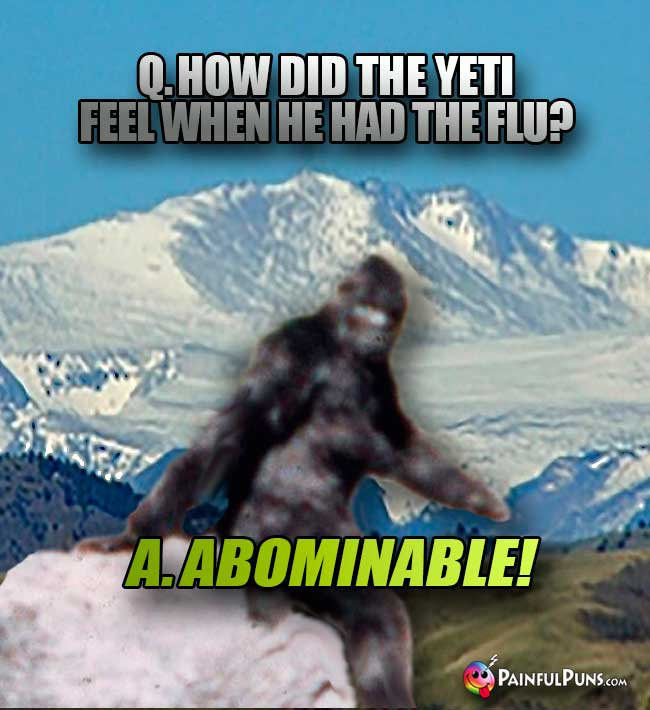 Q. How did the yeti feel when he had the flu? A. Abominable!