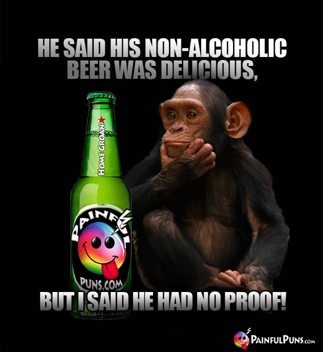 Puzzled chimp says: He said his non-alcoholic beer was delicioius, but I said he had no proof!