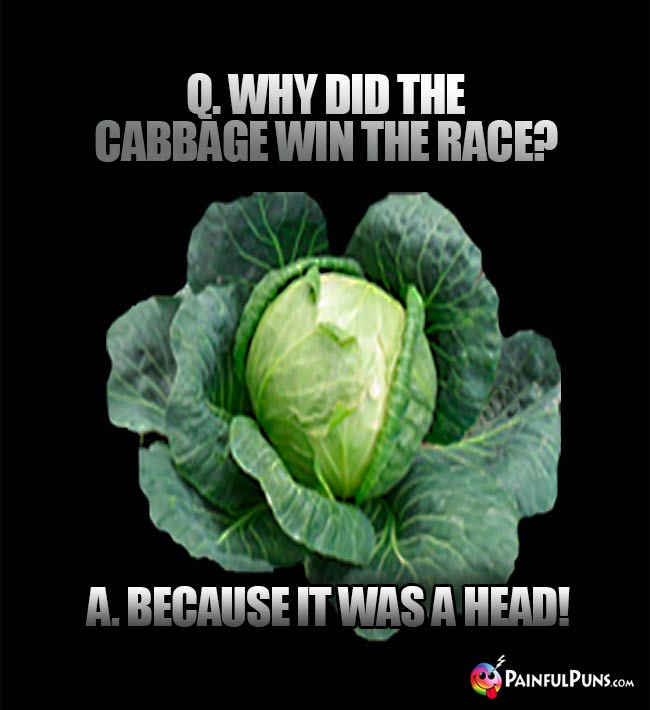 Q. Why did the cabbage win the race? A. Because it was a head!