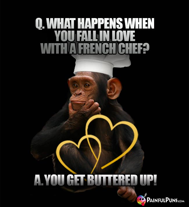 Chimp Chef Asks: What happens when you fall in love with a French chef? A. you get buttered up!