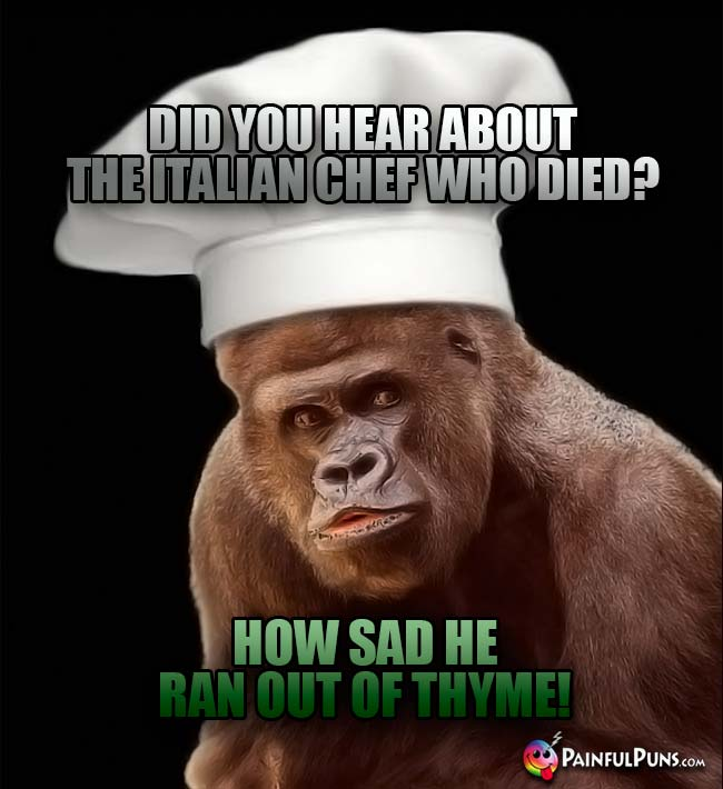 Ape Chef Asks: Did you hear about the Italian chef who died? How sad he ran out of thyme!