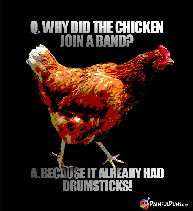 Q. Why did the chicken join a band? A. Because it already had drumsticks!