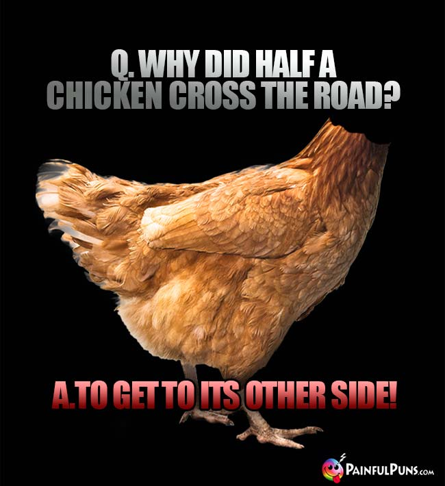 Q. Why did half a chicken cross the road? A. To get to its other side!