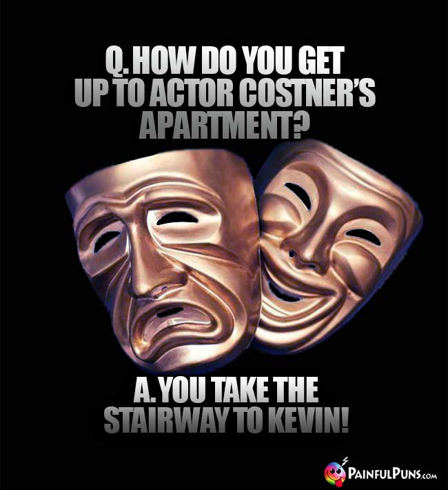 Q. How do you get up to actor Costner's apartment? A. You take the stairway to Kevin!