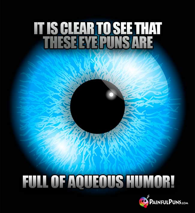 Eye Joke: It is clear to see that these eye puns are full of Aqueous Humor!