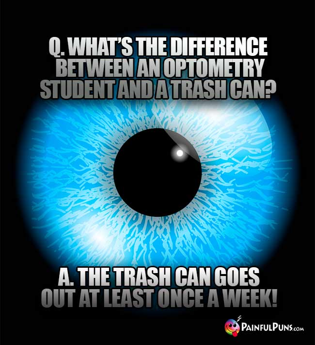 Q. What's the difference between an optometry student and a trash can? A. the trash can goes out at least once a week!