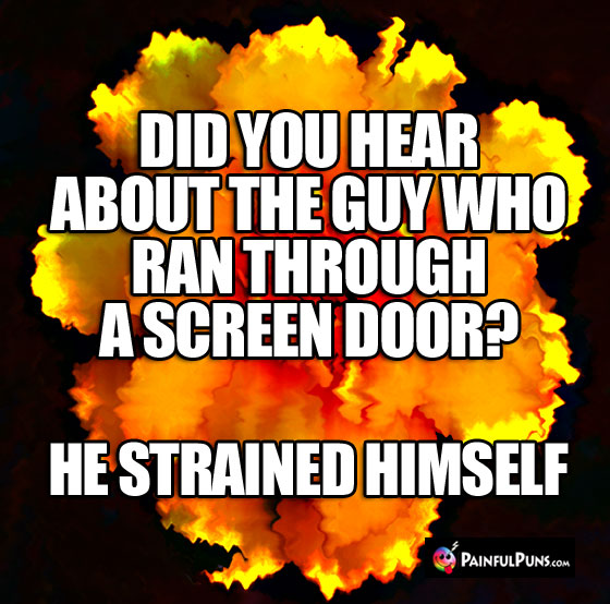Did you hear about the guy who ran through a screen door? He strained himself