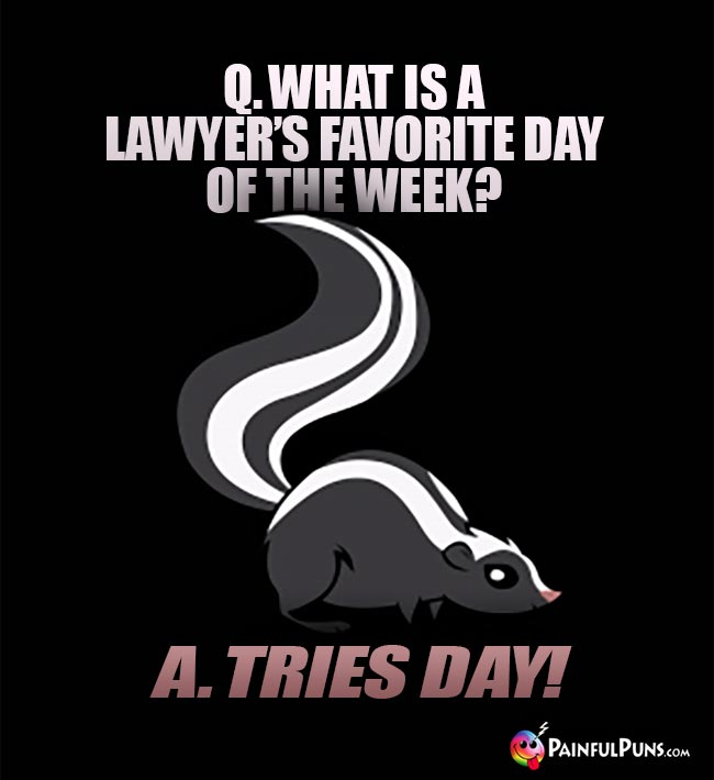 Q. What is a lawyer's favorite day of the week? A. Tries Day!