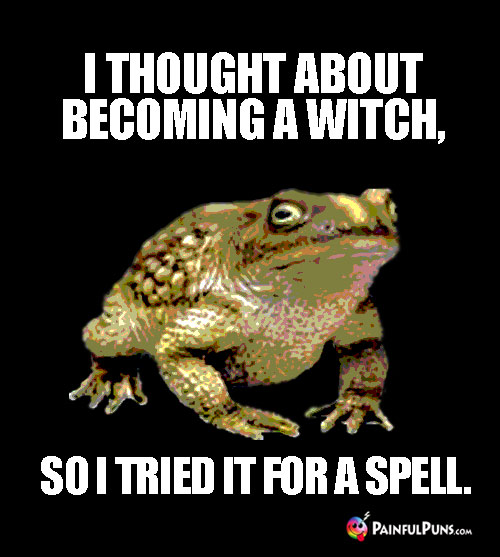 Funny Toad Pun: I thought about becoming a witch, so I tried it for a spell.