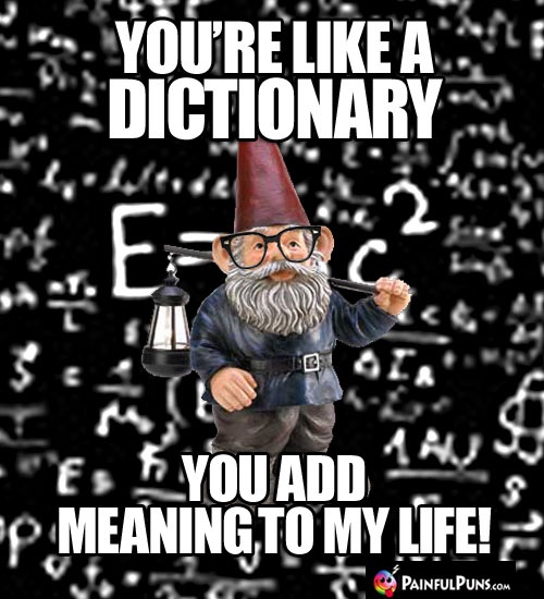 You're like a dictionary. You add meaning to my life!