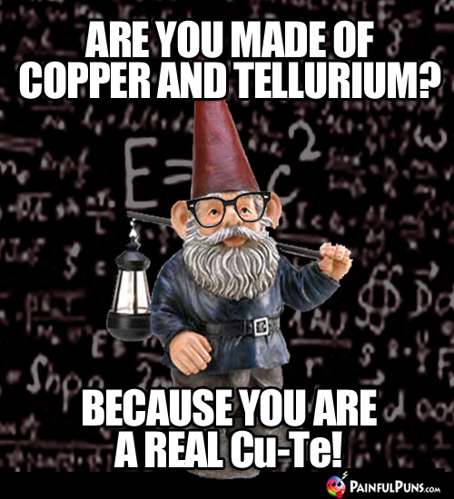 Are you made of copper and tellurium? Because you are a real Cu-Te!