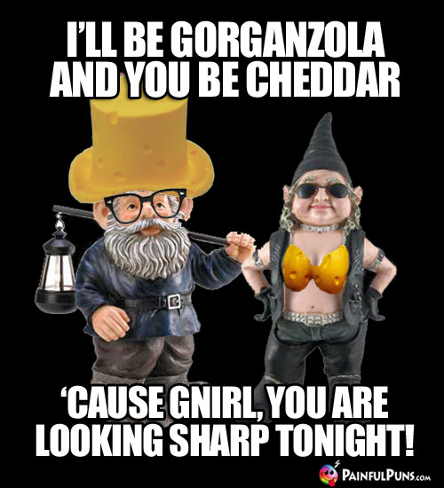 Cheesy Pick-Up Line: I'll be gorganzola and you be cheddar, 'cause gnirl, you are looking sharp tonight!