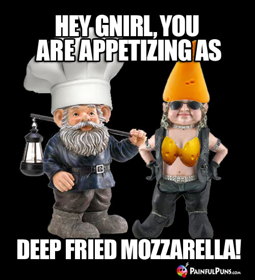 Cheesy Pick-Up Line: Hey Gnirl, you are as appetizing as deep fried Mozzarella!