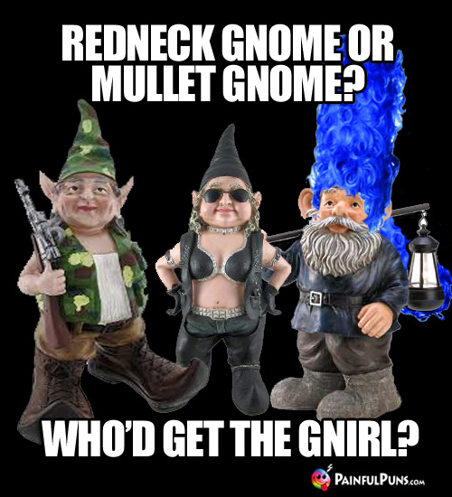 Redneck gnome of mullet gnome? Who'd get the gnirl?