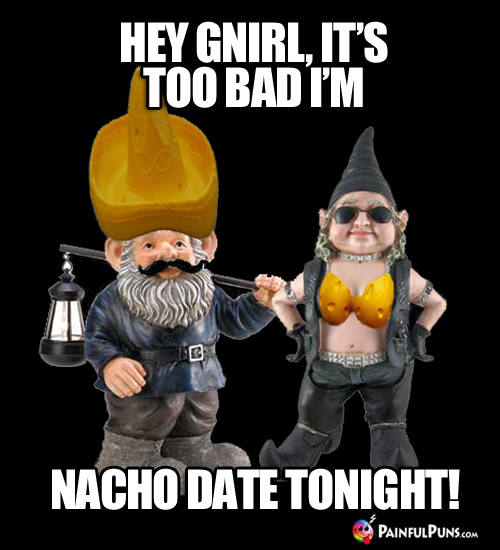 Cheesy Pick-Up Line: Hey Gnirl, it's too bad I'm nacho date tonight!