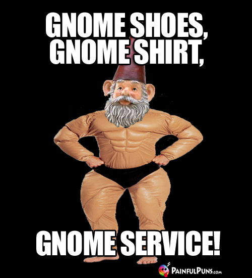Gnome Shoes, Gnome Shirt, Gnome Service!
