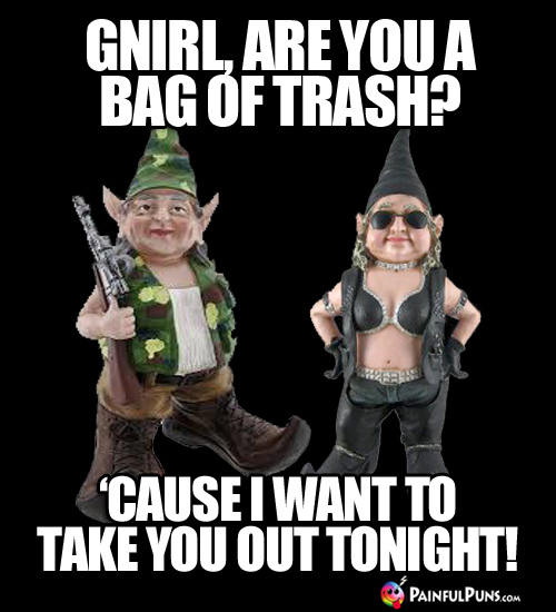 Gnirl, are you a bag of trash? 'Cause I want to take you out tonight!