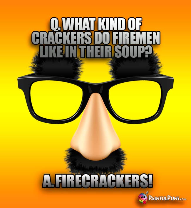 Q. What kind of crackers do firement like in their soup? A. Firecreackers!