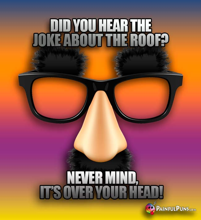 Did you hear the jjoke about the roof? Never mind, it's over your head!