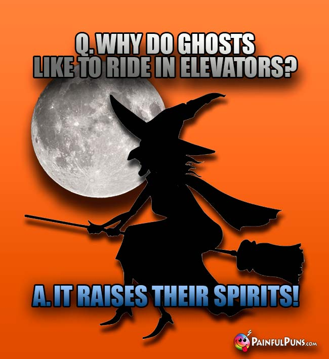 Image of: Ten A He Q Why Do Ghosts Like To Ride In Elevators A It Raises Their Amazoncom Scary Jokes Halloween Oneliners Deadly Funny Puns Painfulpunscom