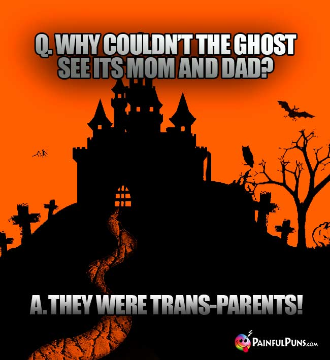 Q. Why couldn't the ghost see its mom and dad? A. They were trans-parents!