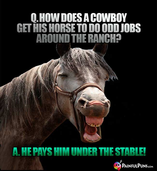 Q. How does a cowboy get his horse to do odd jobs around the ranch? A. He pays hin under the stable!