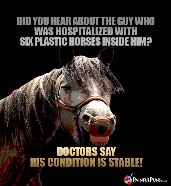 Did you hear about the guy who was hospitalized with six plastic horses inside him? Doctors say his condition is stable!