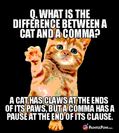 Q. What is the difference between a cat and a comma? A cat has claws at the ends of its paws, but a comma has a pause at the end of its clause.
