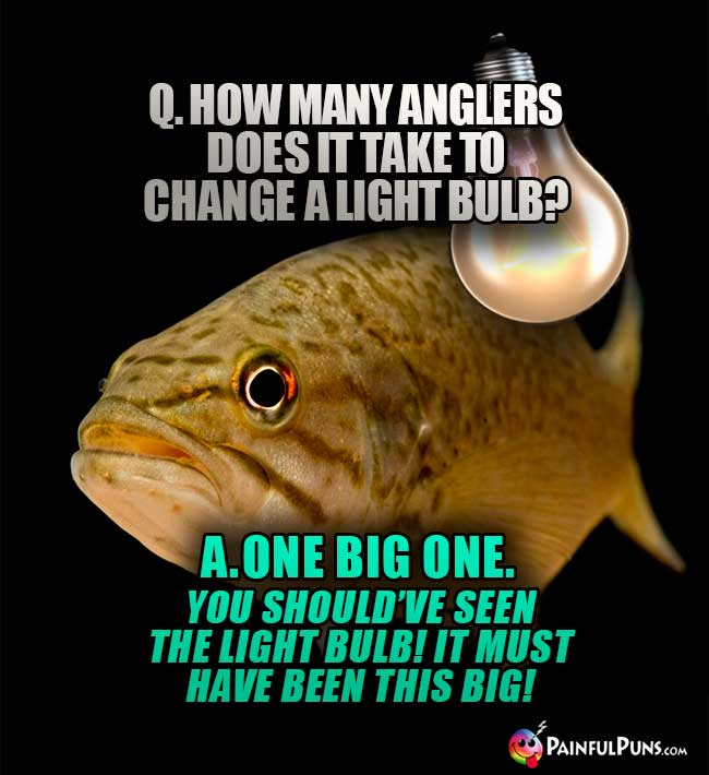 Q. How many anglers does it take to hange a light bulb? A. One big one. You should've seen the light bulb? It must have been this big!