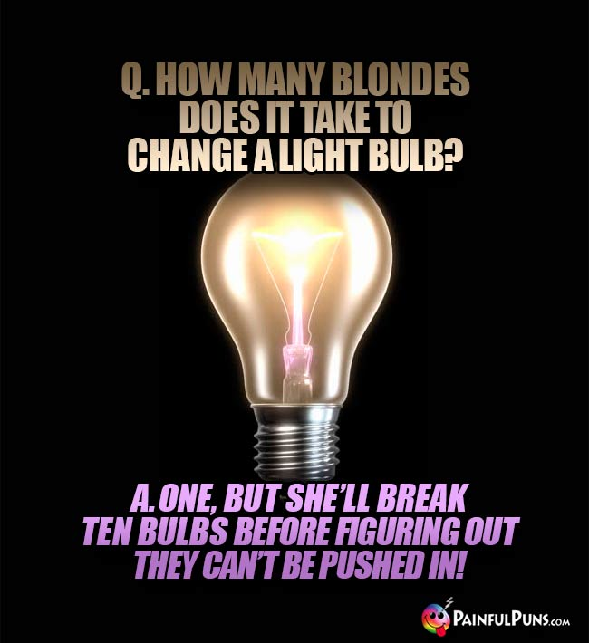 Q How many blindes does it take to change a light bulb? A. One, but she'll break ten bulbs before figuring out they can't be pushed int!