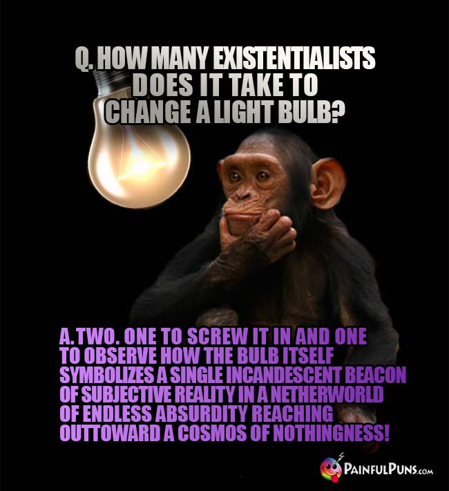 Q. How many Existentialists does it take to change a light bulb? A. Two. One to screw it in and one to observe... ... ... nothingness!