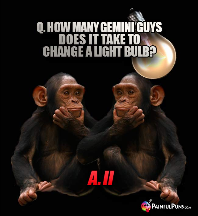 Q. How many Gemini guys does it take to change a light bulb? A. II
