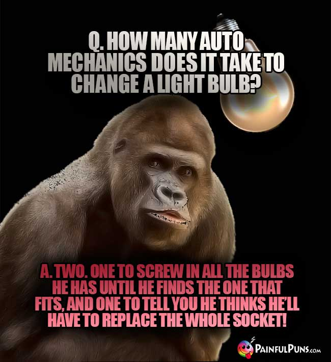 Q. How many auto mechanics does it take to change a light bulb? A. Two. One to screw in all the bulbs he has until he finds the one that fits, and one to tell you he thinks he'll have to replace the whole socket!