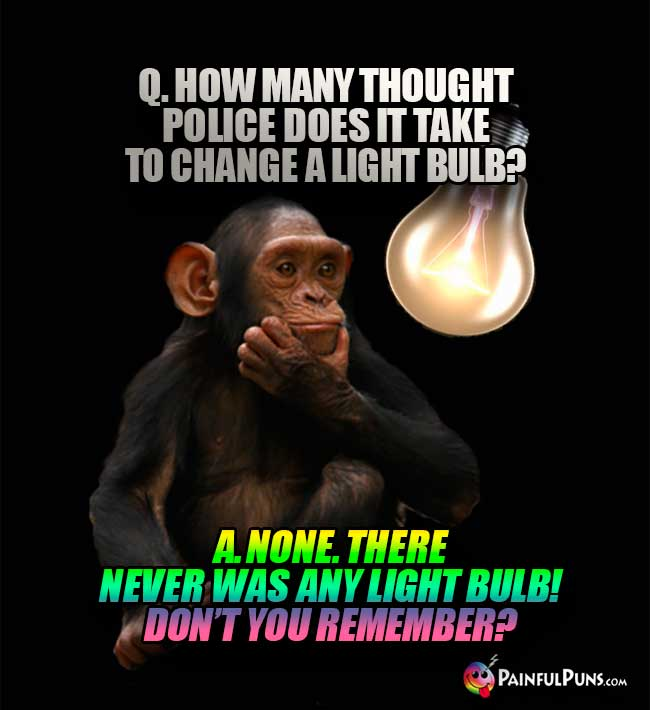 Q. How many thought police does it take to change a light bulb? A. None. There never was any light bulb! Don't you remember?