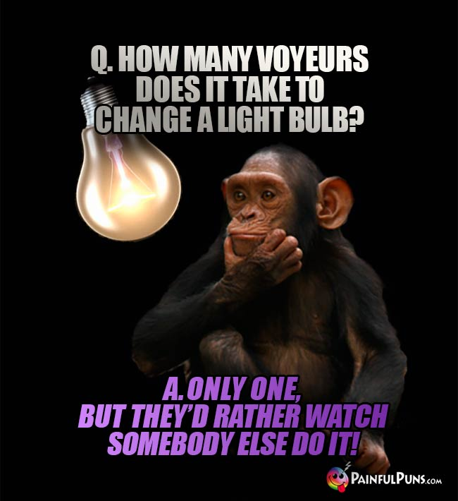 Q. How many boyeurs does it take to change a light bulb? A. Only one, but they'd rather watch somebody else do it!