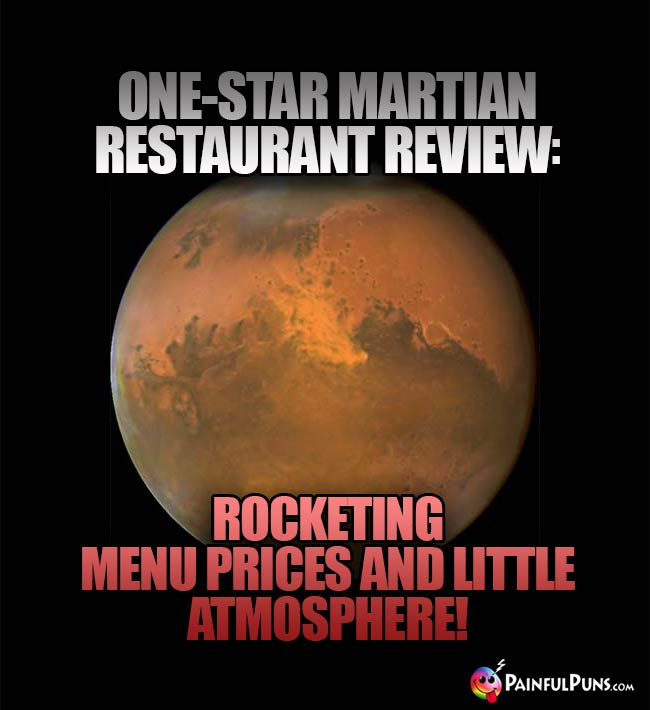 One-Star Martian Restaurant Review: Rocketing menu prices and little atmosphere!
